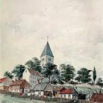 Gamle Aker kirke på toppen av Telthus- bakken der privilegerte menn utpekte valgmenn. Maleri av Peter Andreas Blix fra 1877. Eier: Oslo Museum
