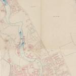 Næsers kart av 1860. Mellom 1856 og 1861 ble området øst for elva som heter Ny York bygget. Eier: Oslo byarkiv.