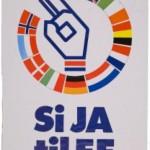 Løpesedler og plakater var først og fremst brukt av nei-sida. Ja-sidas plakat er hentet fra Digitalarkivet.