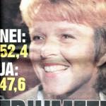 Dagbladets forside dagen etter folkeavstemninga med Anne Enger som var en av de sentrale lederne på nei-sida.