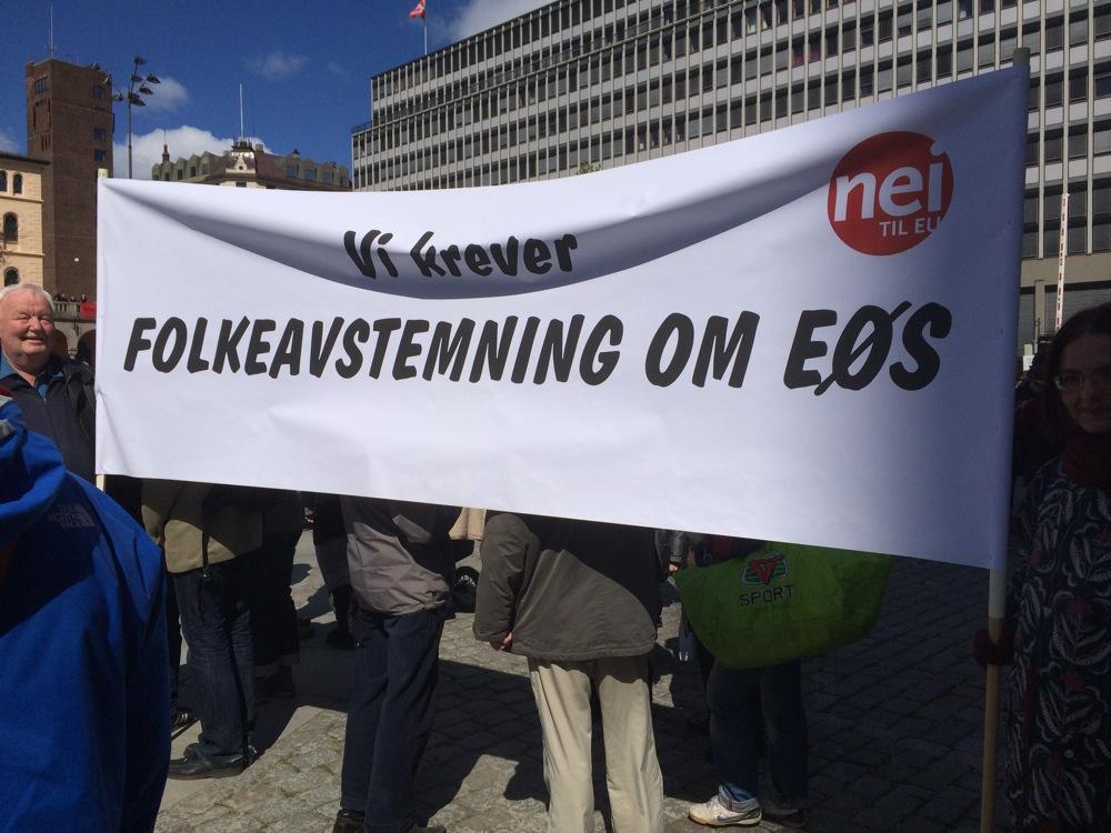 Fra 1. mai-demonstrasjon i Oslo 2014. Foto:Oslo Nei til EU