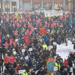 Demonstrasjon mot Vikarbyrådirektivet 2013. Foto: Gudmund Dalsbø