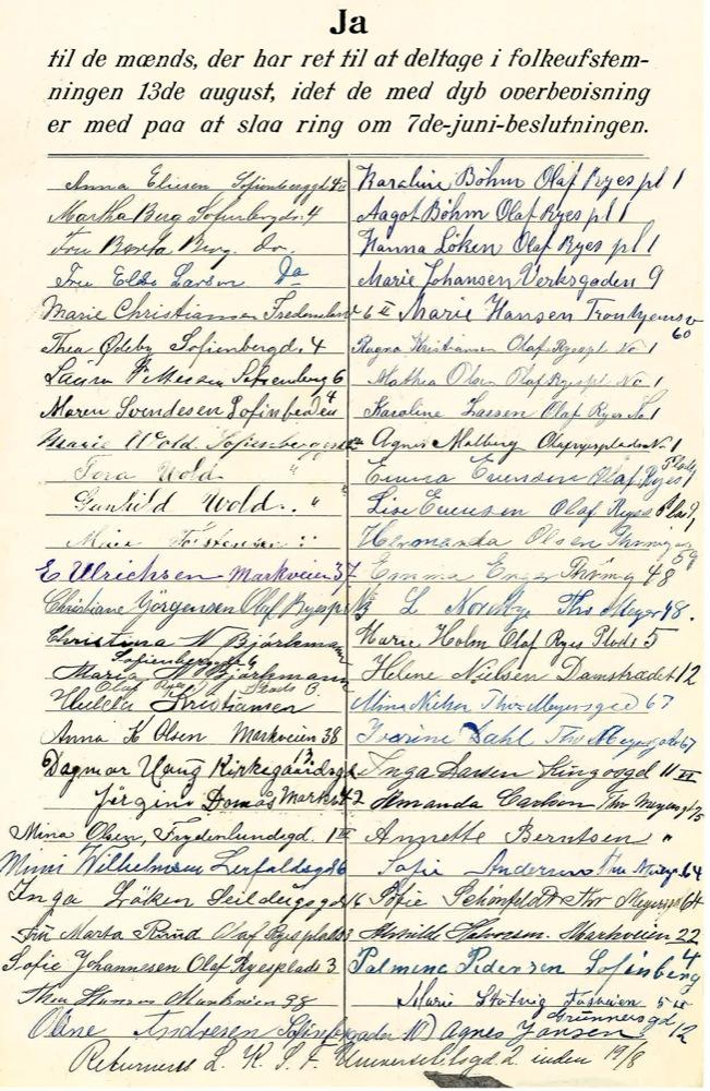 Mange kvinner på Grünerløkka deltok i underskriftsaksjonen i 1905. Om du vil se om noen av dine formødre skrev under, gå til www.stortinget.no og videre til Underskriftsaksjonen 1905. Eier: Stortingsarkivet
