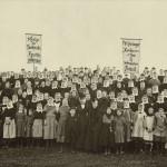 De streikende demonstrerer for sitt krav i 1889. Eier: Arbark