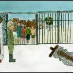 Tegning av Randi Lind, elev på Sagene skole. 1944. Eier: Oslo byarkiv